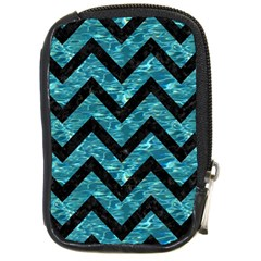 Chevron9 Black Marble & Blue Green Water (r) Compact Camera Leather Case by trendistuff