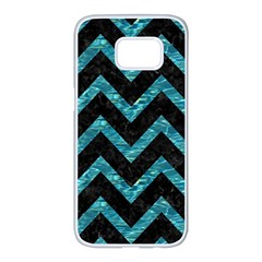 Chevron9 Black Marble & Blue Green Water Samsung Galaxy S7 Edge White Seamless Case by trendistuff