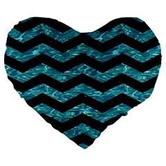 Chevron3 Black Marble & Blue Green Water Large 19  Premium Flano Heart Shape Cushion by trendistuff