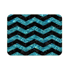 Chevron3 Black Marble & Blue Green Water Double Sided Flano Blanket (mini) by trendistuff