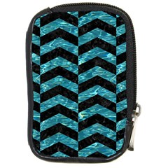 Chevron2 Black Marble & Blue Green Water Compact Camera Leather Case by trendistuff