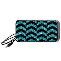 Chevron2 Black Marble & Blue Green Water Portable Speaker (black) by trendistuff