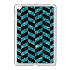 Chevron1 Black Marble & Blue Green Water Apple Ipad Mini Case (white) by trendistuff