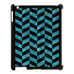 Chevron1 Black Marble & Blue Green Water Apple Ipad 3/4 Case (black) by trendistuff