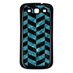 Chevron1 Black Marble & Blue Green Water Samsung Galaxy S3 Back Case (black) by trendistuff