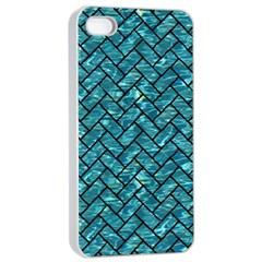 Brick2 Black Marble & Blue Green Water (r) Apple Iphone 4/4s Seamless Case (white) by trendistuff