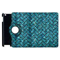Brick2 Black Marble & Blue Green Water (r) Apple Ipad 3/4 Flip 360 Case by trendistuff