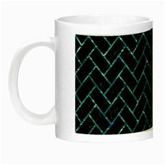 Brick2 Black Marble & Blue Green Water Night Luminous Mug by trendistuff