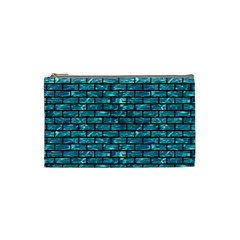 Brick1 Black Marble & Blue Green Water (r) Cosmetic Bag (small) by trendistuff