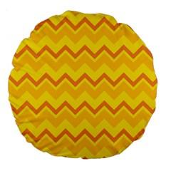 Zigzag (orange And Yellow) Large 18  Premium Round Cushions by berwies