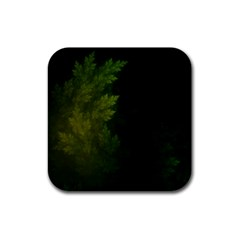 Beautiful Fractal Pines In The Misty Spring Night Rubber Square Coaster (4 Pack)  by jayaprime