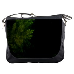 Beautiful Fractal Pines In The Misty Spring Night Messenger Bags by beautifulfractals