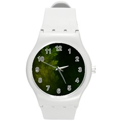 Beautiful Fractal Pines In The Misty Spring Night Round Plastic Sport Watch (m) by beautifulfractals