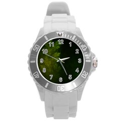 Beautiful Fractal Pines In The Misty Spring Night Round Plastic Sport Watch (l) by beautifulfractals