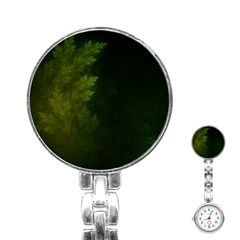 Beautiful Fractal Pines In The Misty Spring Night Stainless Steel Nurses Watch by beautifulfractals
