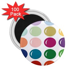 Brights Pastels Bubble Balloon Color Rainbow 2 25  Magnets (100 Pack)  by Mariart