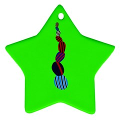 Egg Line Rainbow Green Ornament (star) by Mariart