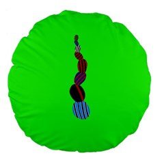 Egg Line Rainbow Green Large 18  Premium Flano Round Cushions by Mariart