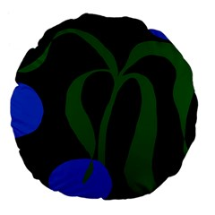 Flower Green Blue Polka Dots Large 18  Premium Flano Round Cushions by Mariart