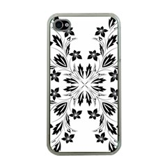 Floral Element Black White Apple Iphone 4 Case (clear) by Mariart