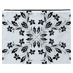 Floral Element Black White Cosmetic Bag (xxxl)  by Mariart