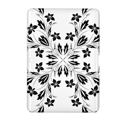 Floral Element Black White Samsung Galaxy Tab 2 (10.1 ) P5100 Hardshell Case
