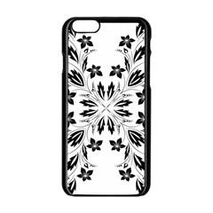Floral Element Black White Apple Iphone 6/6s Black Enamel Case by Mariart