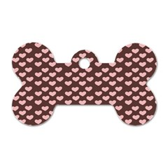 Chocolate Pink Hearts Gift Wrap Dog Tag Bone (two Sides) by Mariart