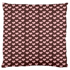 Chocolate Pink Hearts Gift Wrap Standard Flano Cushion Case (two Sides) by Mariart