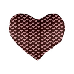 Chocolate Pink Hearts Gift Wrap Standard 16  Premium Flano Heart Shape Cushions by Mariart