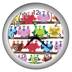 Funny Owls Sitting On A Branch Pattern Postcard Rainbow Wall Clocks (silver)  by Mariart