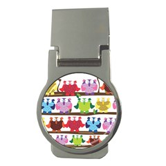 Funny Owls Sitting On A Branch Pattern Postcard Rainbow Money Clips (round)  by Mariart