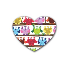 Funny Owls Sitting On A Branch Pattern Postcard Rainbow Rubber Coaster (heart)  by Mariart