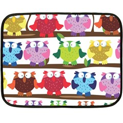 Funny Owls Sitting On A Branch Pattern Postcard Rainbow Fleece Blanket (mini) by Mariart