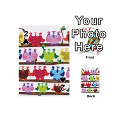 Funny Owls Sitting On A Branch Pattern Postcard Rainbow Playing Cards 54 (mini)  by Mariart