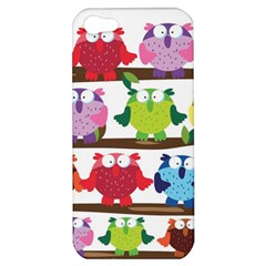 Funny Owls Sitting On A Branch Pattern Postcard Rainbow Apple Iphone 5 Hardshell Case by Mariart