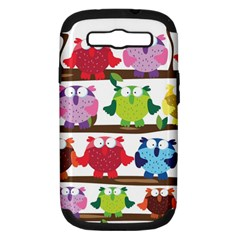 Funny Owls Sitting On A Branch Pattern Postcard Rainbow Samsung Galaxy S Iii Hardshell Case (pc+silicone) by Mariart