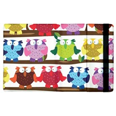 Funny Owls Sitting On A Branch Pattern Postcard Rainbow Apple Ipad 3/4 Flip Case by Mariart