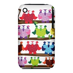 Funny Owls Sitting On A Branch Pattern Postcard Rainbow Iphone 3s/3gs by Mariart