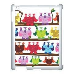 Funny Owls Sitting On A Branch Pattern Postcard Rainbow Apple Ipad 3/4 Case (white) by Mariart