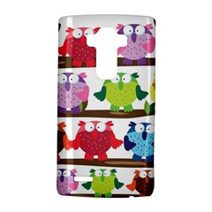 Funny Owls Sitting On A Branch Pattern Postcard Rainbow Lg G4 Hardshell Case by Mariart