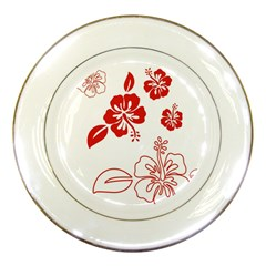 Hawaiian Flower Red Sunflower Porcelain Plates by Mariart