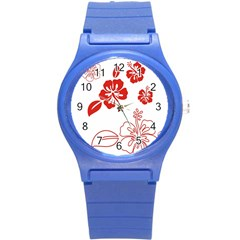 Hawaiian Flower Red Sunflower Round Plastic Sport Watch (s) by Mariart
