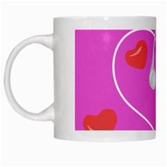 Heart Love Pink Red White Mugs by Mariart