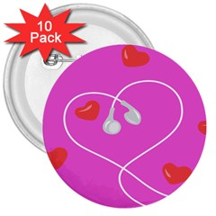 Heart Love Pink Red 3  Buttons (10 pack)  by Mariart