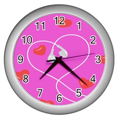 Heart Love Pink Red Wall Clocks (silver)  by Mariart