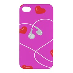 Heart Love Pink Red Apple Iphone 4/4s Hardshell Case by Mariart