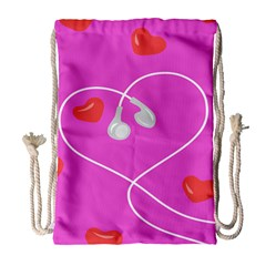 Heart Love Pink Red Drawstring Bag (large) by Mariart