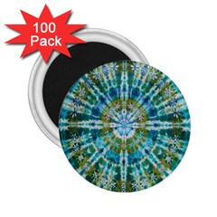 Green Flower Tie Dye Kaleidoscope Opaque Color 2 25  Magnets (100 Pack)  by Mariart