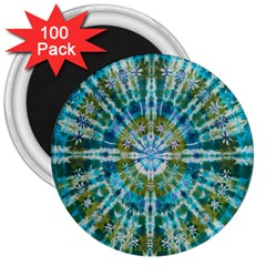 Green Flower Tie Dye Kaleidoscope Opaque Color 3  Magnets (100 Pack) by Mariart